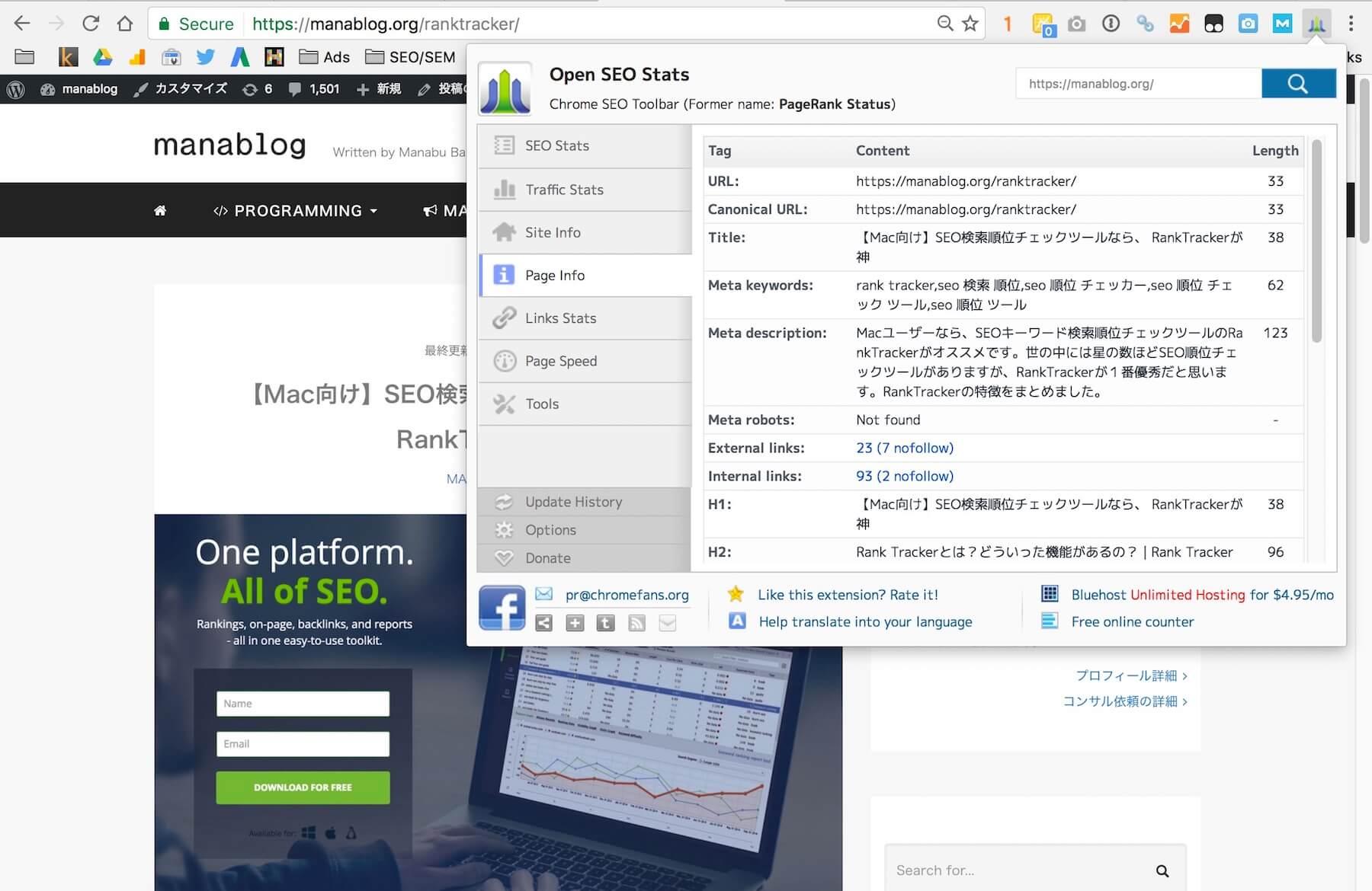 Dùng Open SEO Stats để check Canonical (Nguồn: manablog.org)