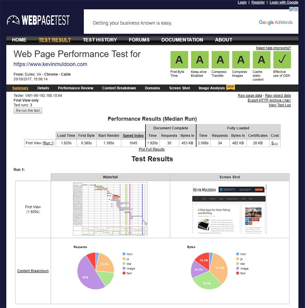 WebPageTest công cụ kiểm tra tốc độ tải trang đa năng, tiện dụng