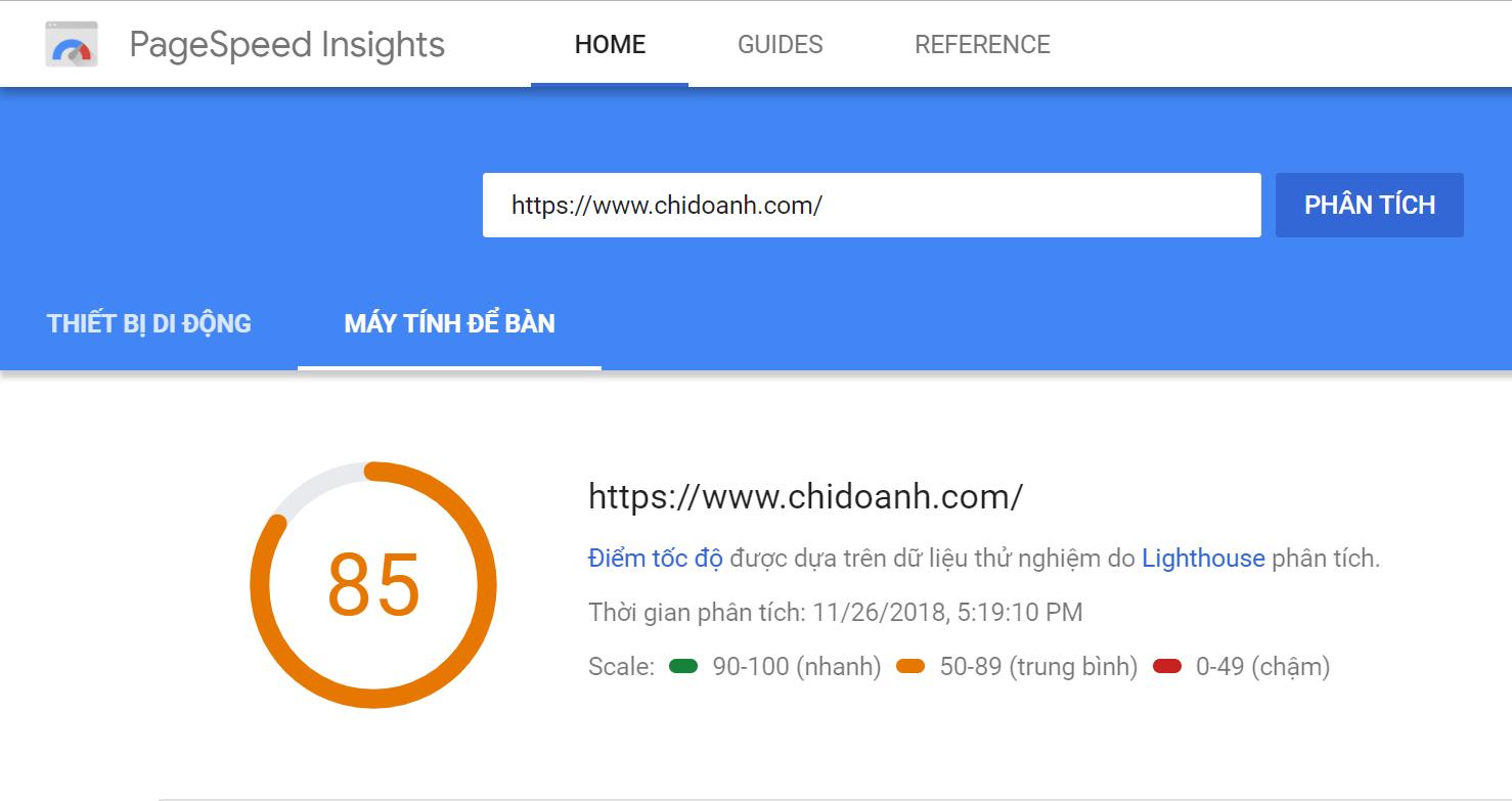Dùng công cụ PageSpeed Insights để check tốc độ tải trang website của bạn