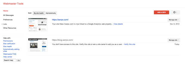 Giao diện Google Webmaster Tool